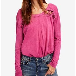 NEW Free People Berry First Love Lace Up Top